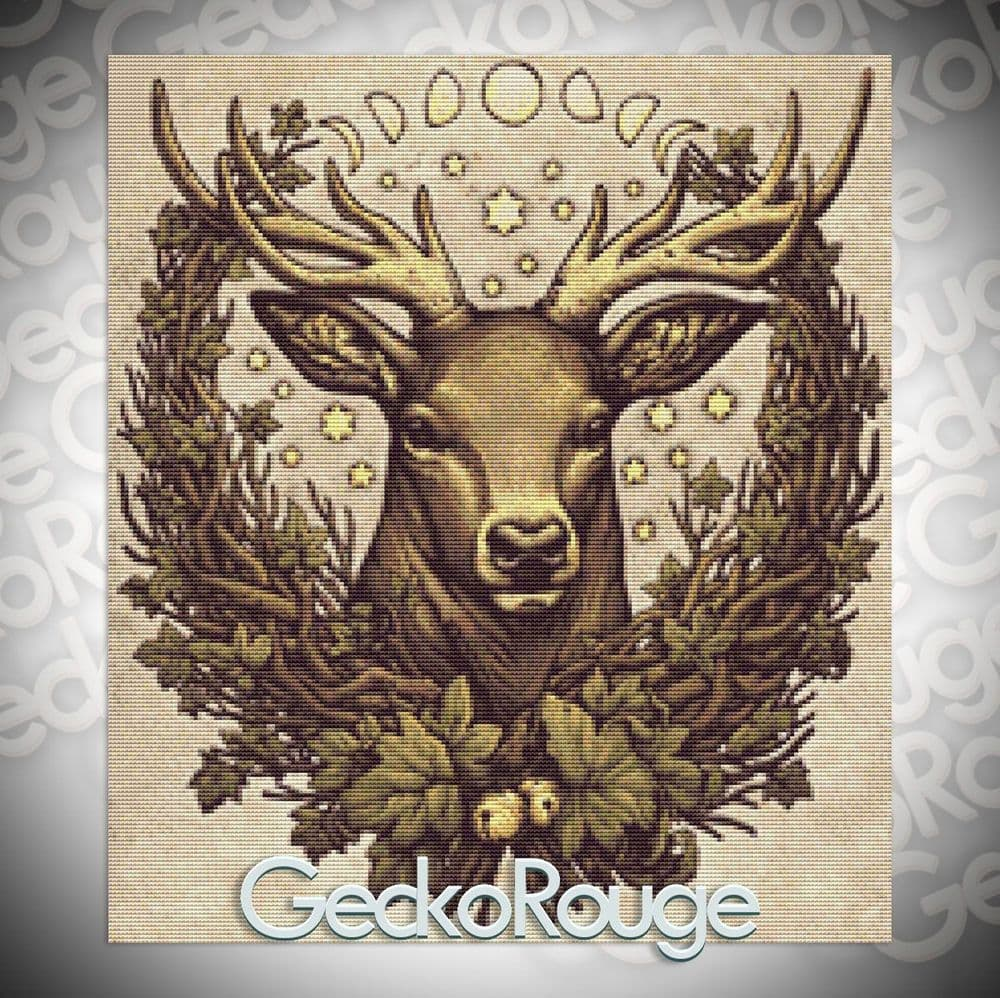 Cernunnos Stag by Medusa Dollmaker Modern Cross Stitch Art Kit