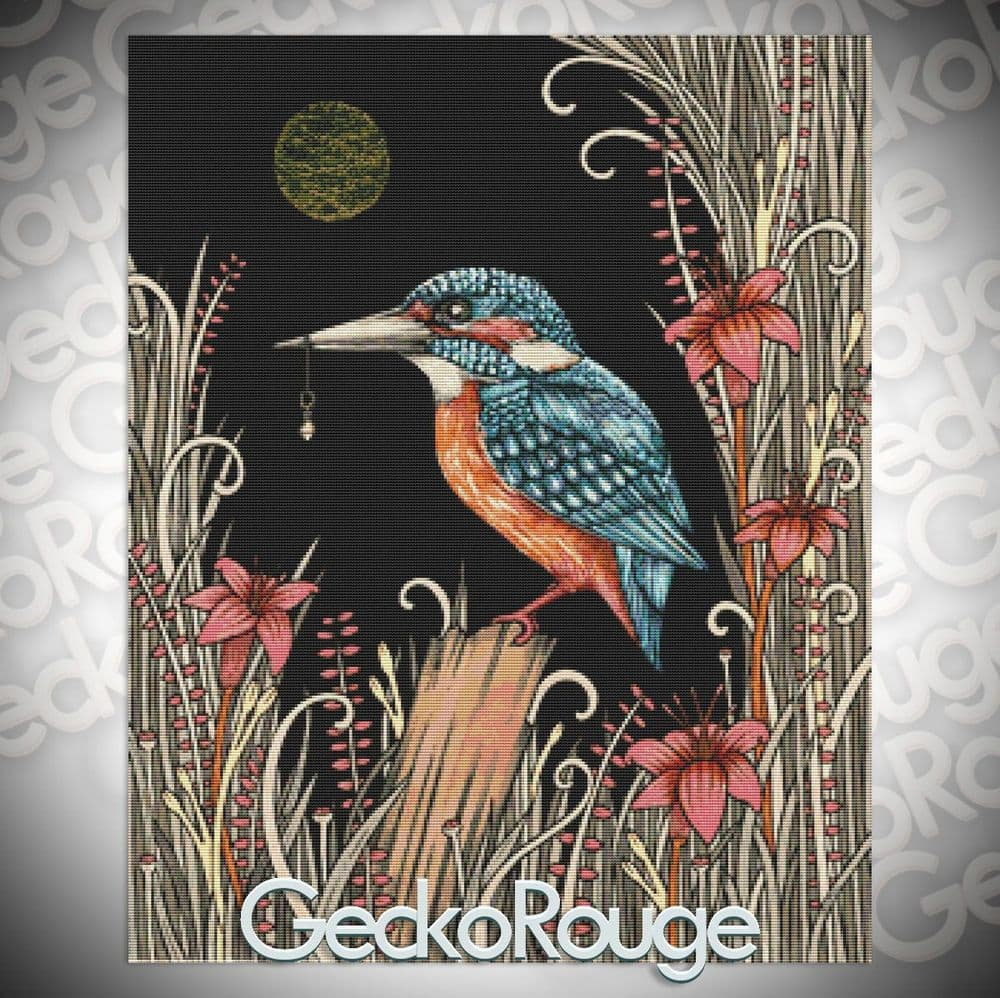 Charmed Kingfisher by Anita Inverarity Modern  Cross Stitch Art Kit