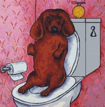 Dachshund in the Bathroom By Jay Schmetz Cross Stitch Kit