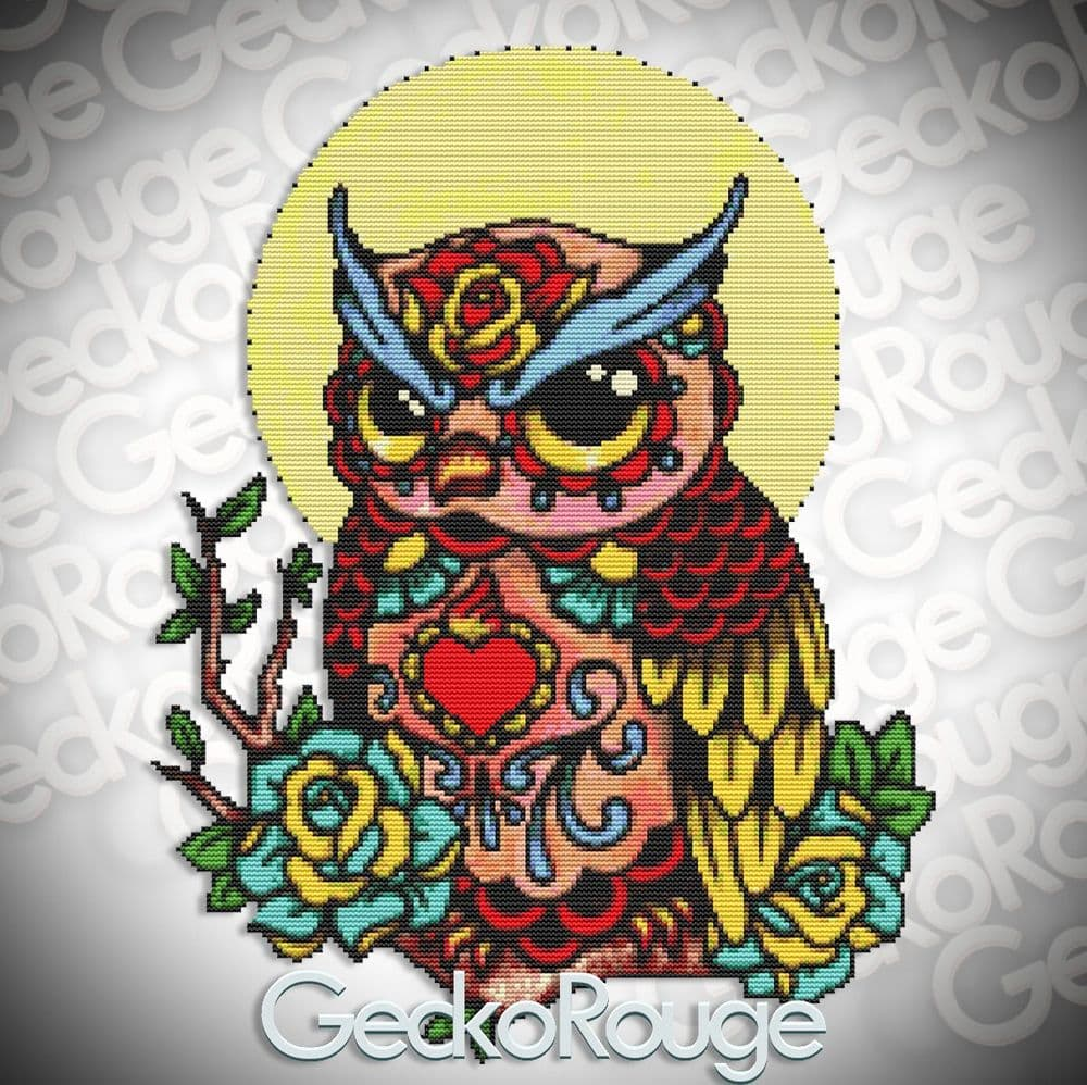 Day of the Dead Owl by Illustrated Ink Modern Cross Stitch Art Kit [READY TO SHIP]