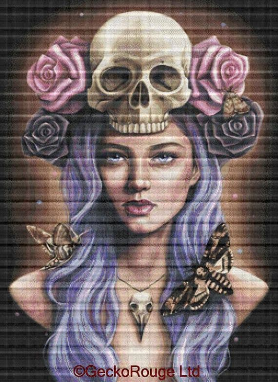 Deaths Head By Emily Luella Cross Stitch Kit - In Colour