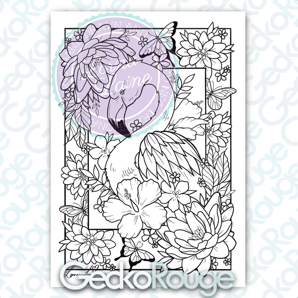 Flamingo Art Colouring Page by Lorna Laine