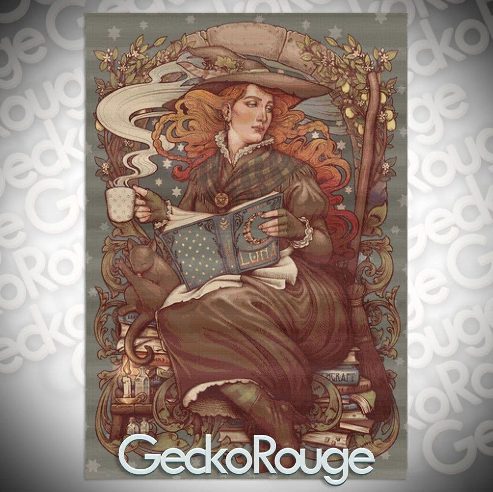 Folk Witch by Medusa Dollmaker Modern Cross Stitch Art Kit