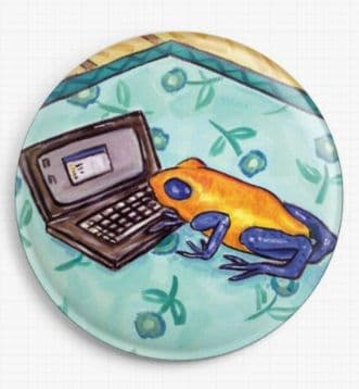 Frog Working On A Laptop By Jay Schmetz Licensed Art Needle Minder
