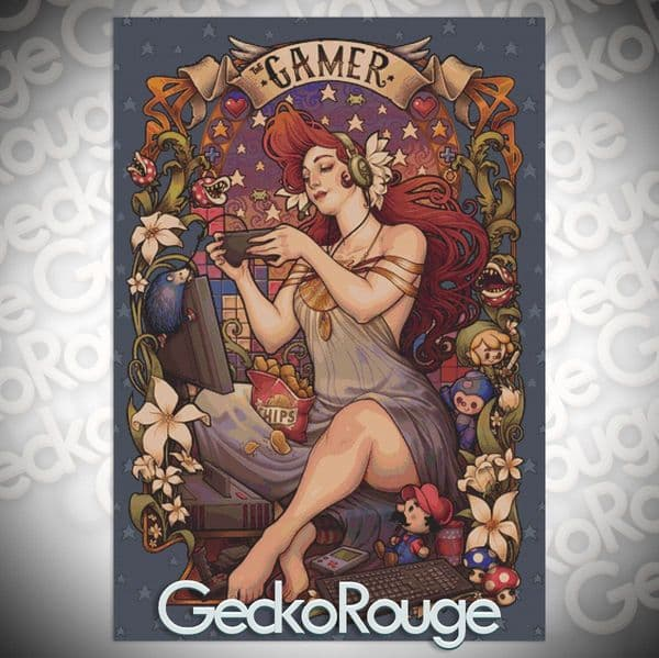 Gamer Nouveau by Medusa Dollmaker Modern Cross Stitch Art Kit  [READY TO SHIP]