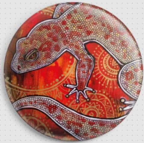 Gecko In Gold and Red  By Lynnette Shelley Licensed Art Needle Minder (3)