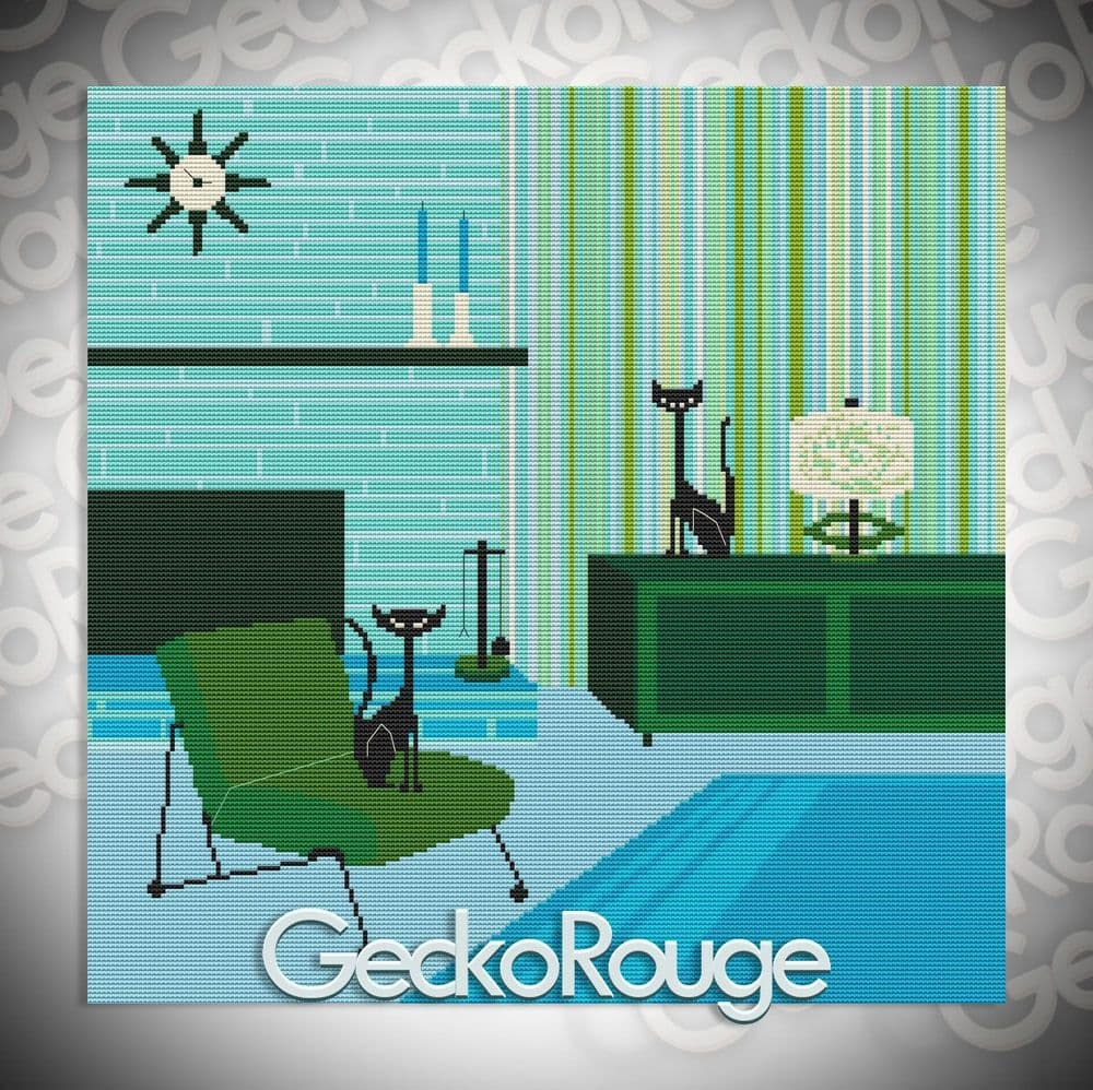 Geenie And Sacha Cats Cross Stitch Kit By Kerry Beary (KBGESSH)