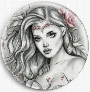 Girl With Flowers By Emily Luella Licensed Art Needle Minder
