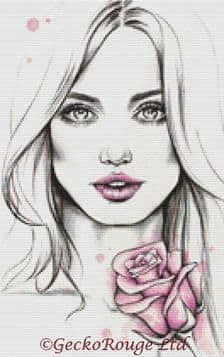 Girl With Pink Rose By Emily Luella Cross Stitch Kit (ELGLPK)