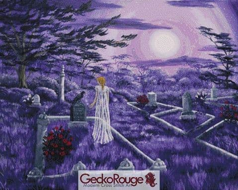 Lenore in Lavender Moonlight  Cross Stitch Kit By Laura Iverson  (LIVLVMN)