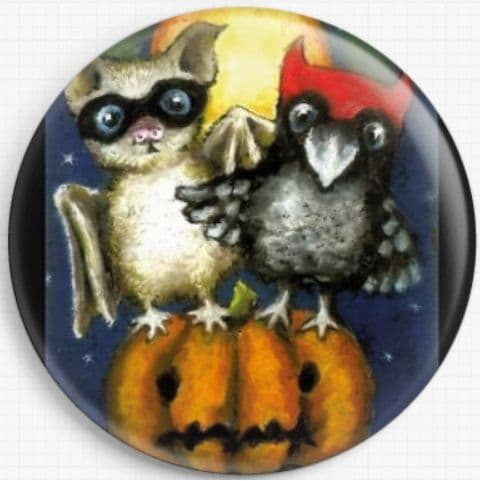 Little bat and raven doing trick-or-treat on a Halloween night By Tanya Bond Licensed Art Needle