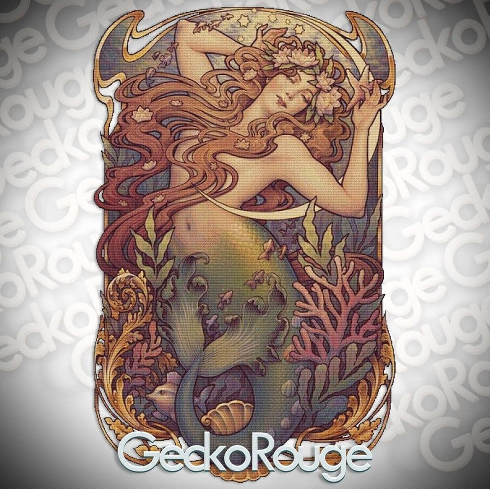 Mermaid by Medusa Dollmaker Modern Cross Stitch Kit