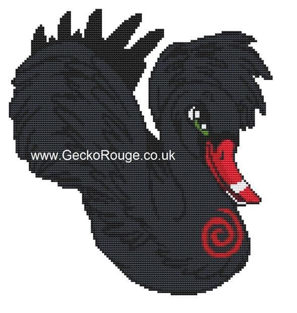 Odile' Black Swan Swirlies World Counted Cross Stitch Kit [READY TO SHIP]
