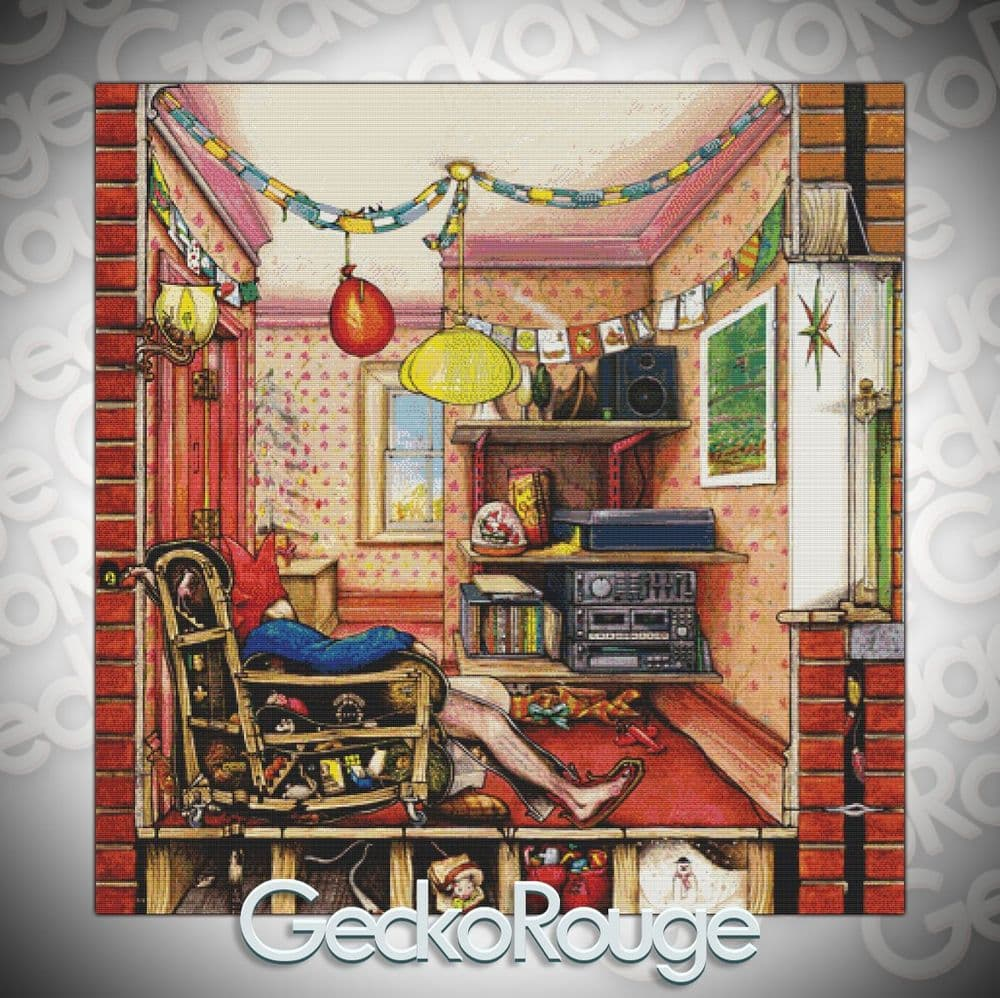 Our House - Christmas Room by Colin Thompson  Modern Cross Stitch Art Kit