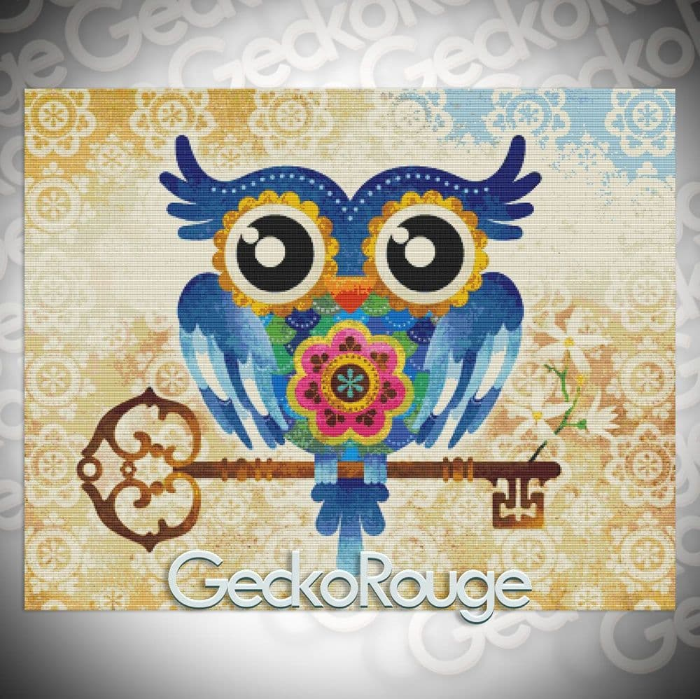Owl Key by Sandra Vargas Modern Cross Stitch Art Kit
