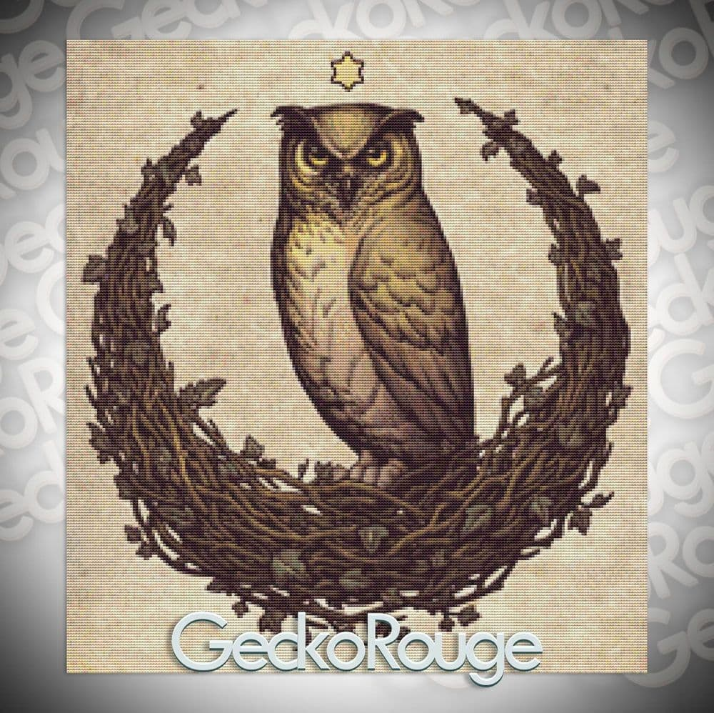 Owl Moon by Medusa Dollmaker Modern Cross Stitch  Art Kit