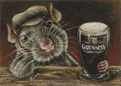 Paddy The Rat Drinking Guinness In A Quiet Pub  By Tanya Bond Cross Stitch Kit