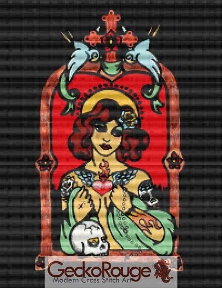 Patron Saint Of The Tattooed  By Illustrated Ink Cross Stitch Kit (IIPTSTTT)