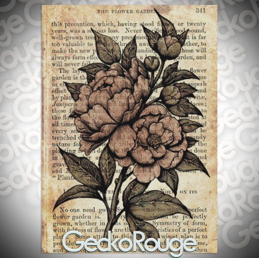 Peonies by Medusa Dollmaker Modern Cross Stitch Art Kit