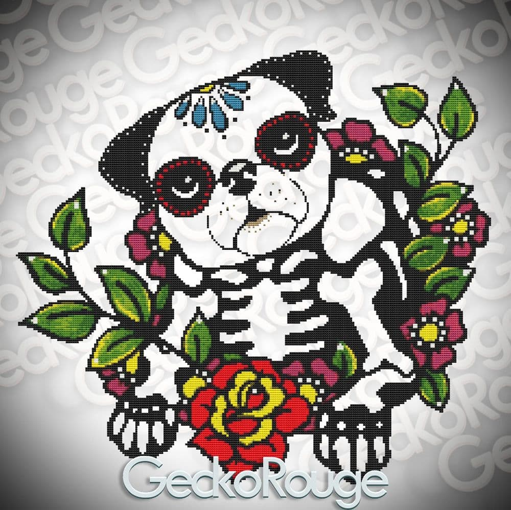 Pug By Illustrated Ink Cross Stitch Kit - Background Removed