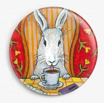 Rabbit Drinking Coffee By Jay Schmetz Licensed Art Needle Minder