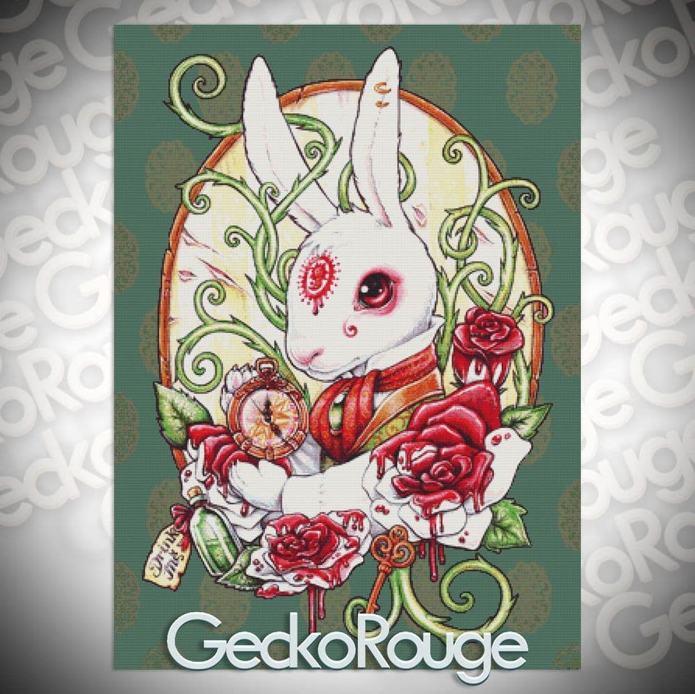Rabbit Hole by Medusa Dollmaker Modern Cross Stitch Art Kit