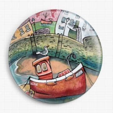 Red Lobster Boat Ten By Web By Dorian Davies Spencer Art Licensed Needle Minder