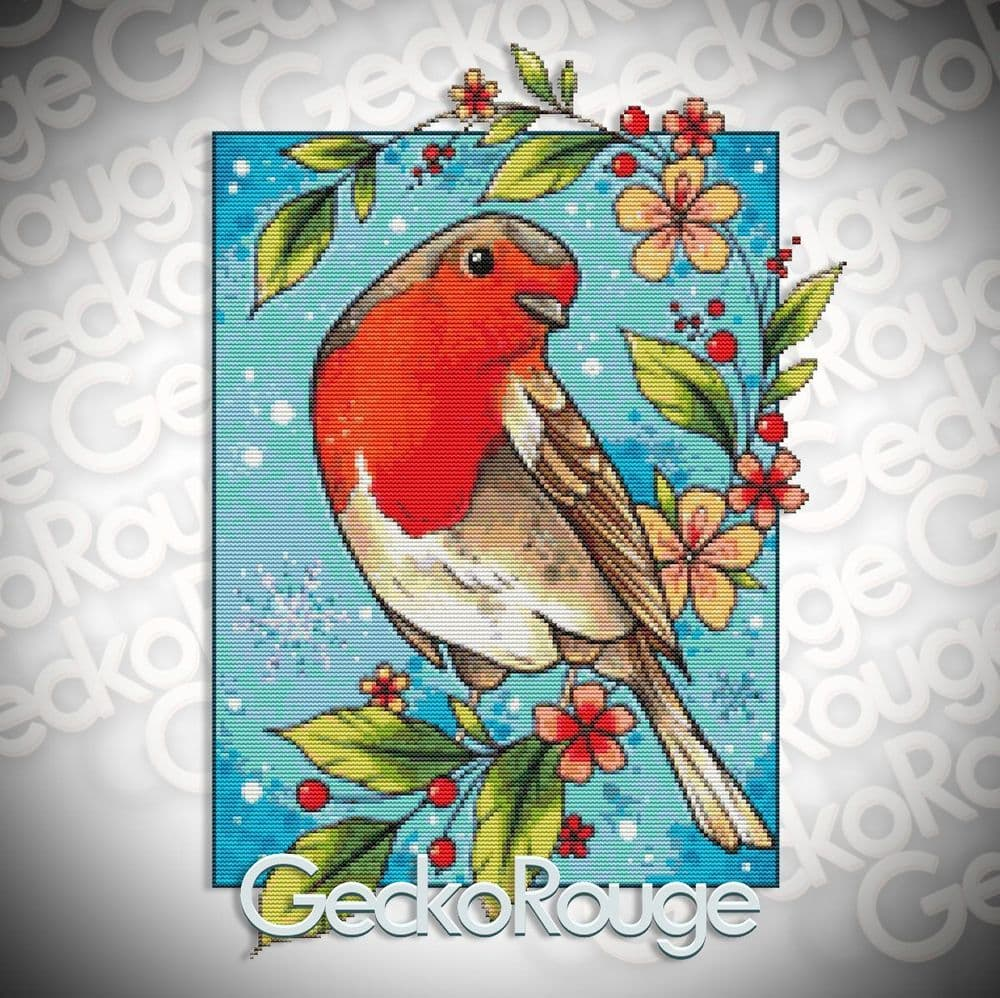 Robin by Lorna Laine Fine Art Modern Cross Stitch Art Kit