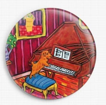 Terrier Playing Piano By Jay Schmetz Licensed Art Needle Minder