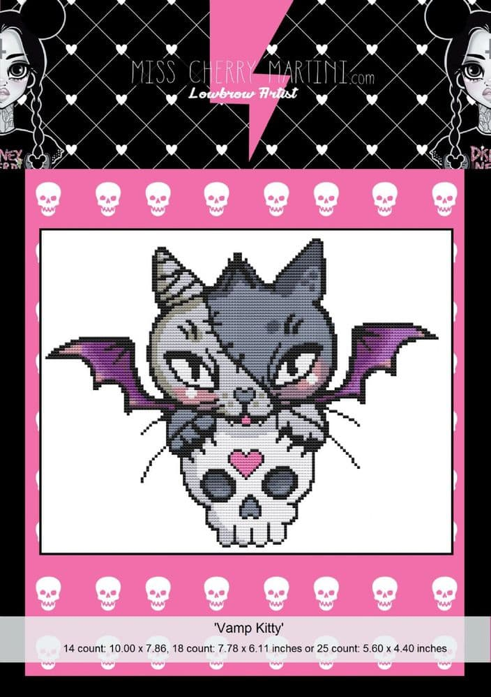 Vamp Kitty by Miss Cherry Martini Modern Cross Stitch Art Kit