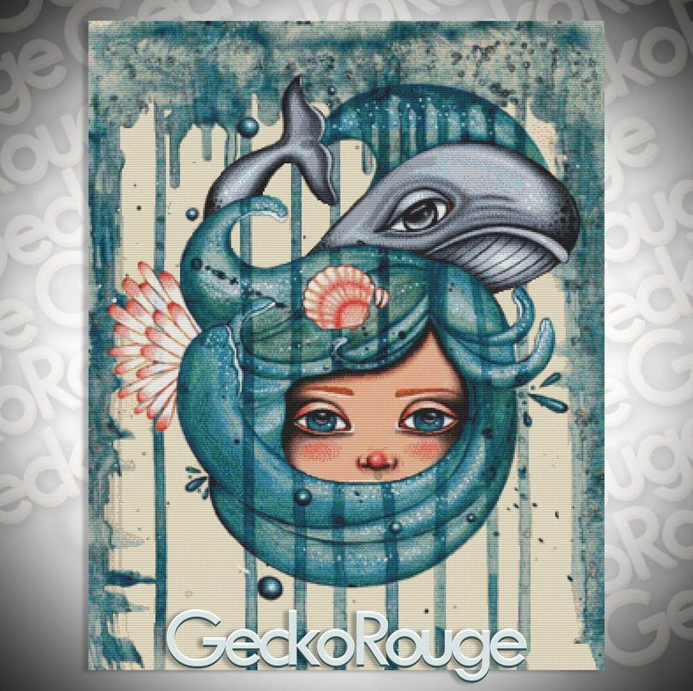 Wrapped in the Sea by Lea Barozzi Cross Stitch Kit (LBZWPSA) - Whale