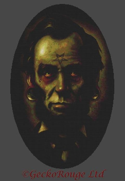 Zombie Abraham Lincoln By Marcus Jones Cross Stitch Kit