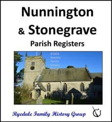 Nunnington and Stonegrave - Parish Registers (Burials) - CD