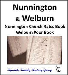Nunnington and Welburn - Church Rates Book & Poor Book - DOWNLOAD (FREE DELIVERY)