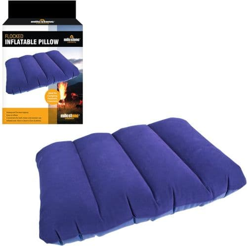 Milestone Flocked Inflatable Camping Festival Travel Pillow